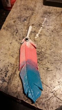 Custom Made Feather Keychains, Hand Tooled From Genuine Leather
