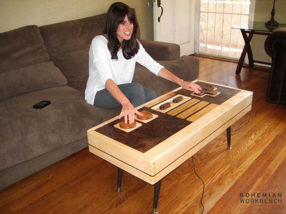 Hand Crafted Nintendo Controller Coffee Table Maple Walnut Functional By Bohemian Workbench Custommade Com