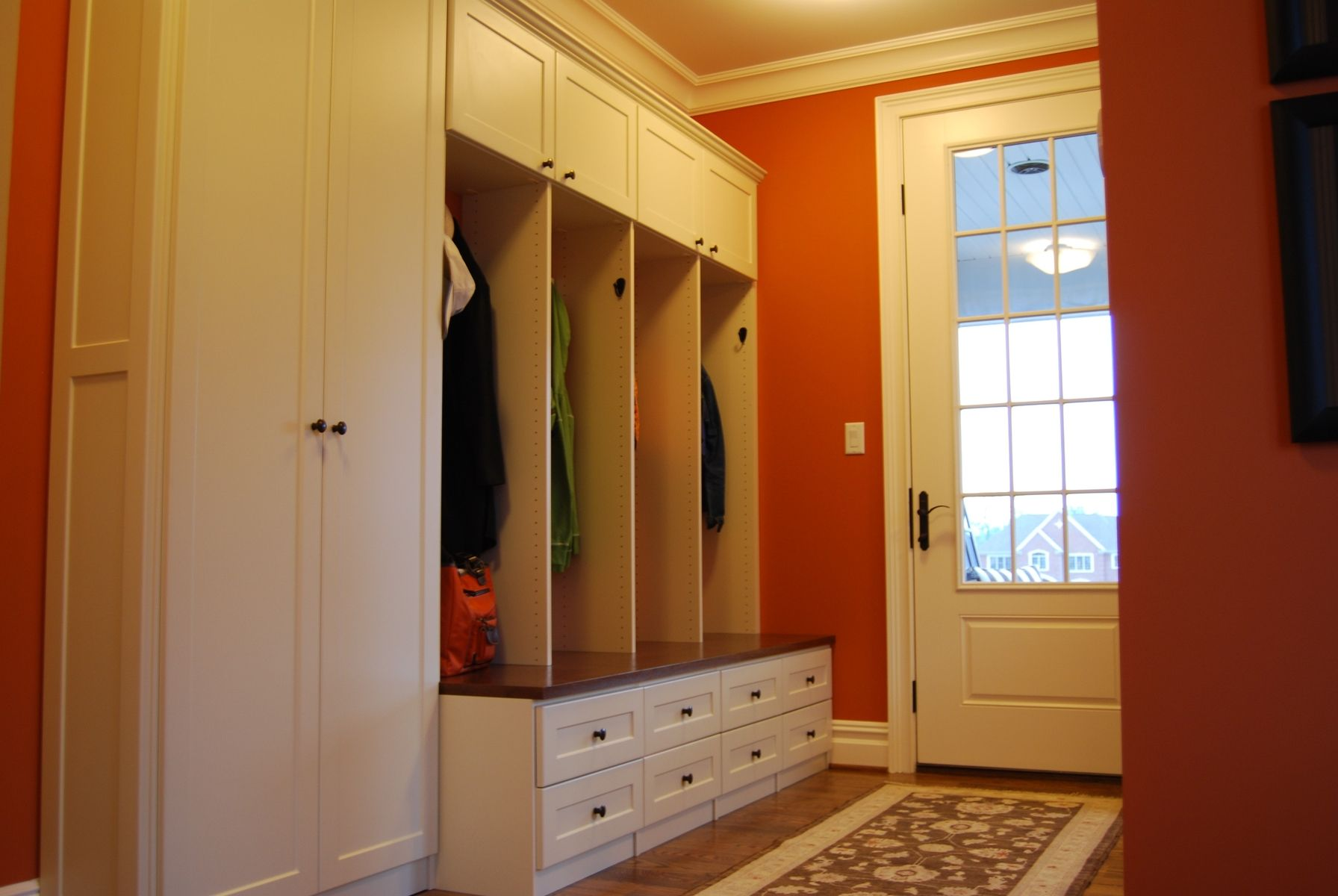 Custom mud room lockers and home office by creative for Mudroom locker design plans