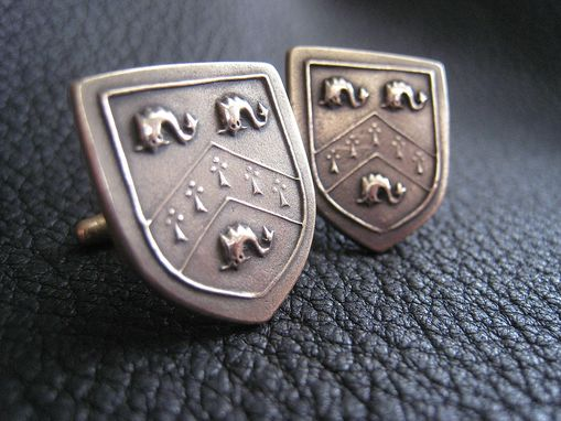 Custom Made Solid Bronze Cufflinks With Coat Of Arms Heraldic Family Crest Motif Custom