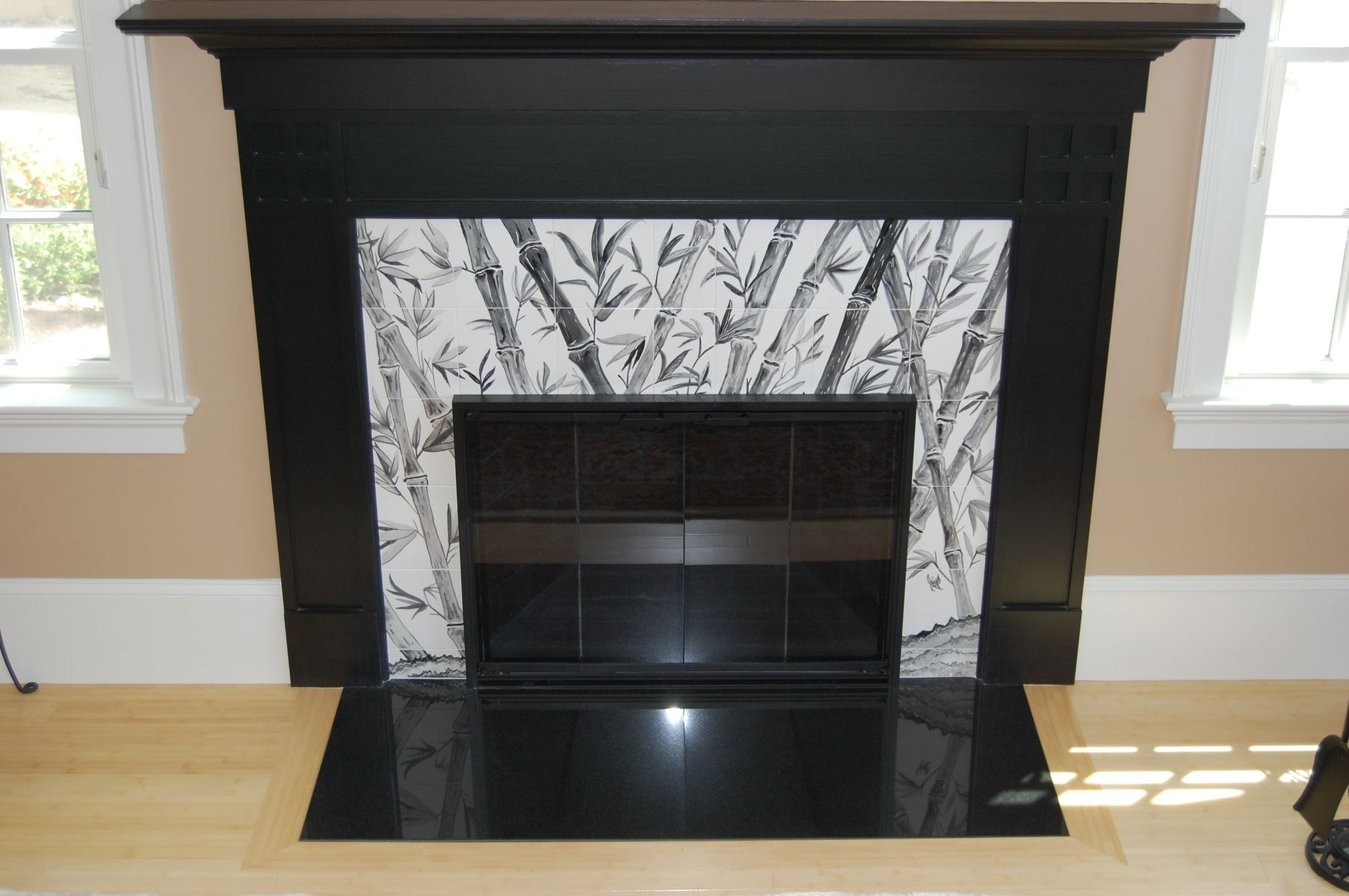 hand made asian fireplace with bamboo by dy u0027s art tiles