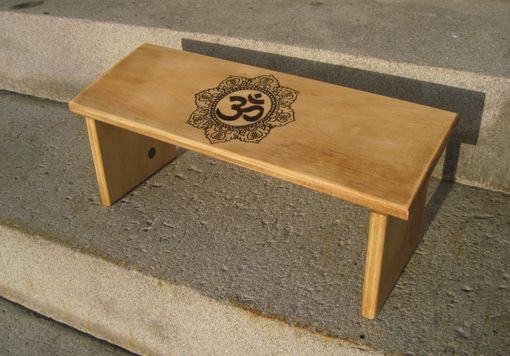 Custom Made Folding Meditation Bench Om Symbol