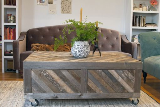 Custom Made Reclaimed Wooden Chevron Coffee Table