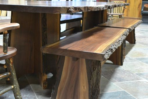 Custom Made Live Edge Walnut Slab Dining Table