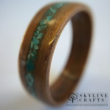 Custom Made Koa Bentwood Ring With Turquoise Inlay. Handcrafted Wood Ring. Handmade Koa Ring.