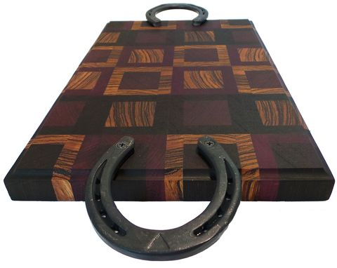 Custom Made Horseshoe Handle - Exotic Wood Cutting Board