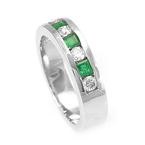 Custom Made Emerald And Round Diamond Ring