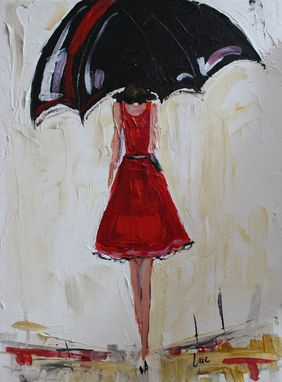 Custom Made Sold - Umbrella Girl In Red, Acrylic Painting Sold