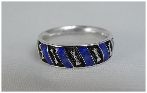 Custom Made Ring With Blue Enamel