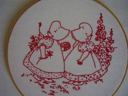 Custom Made Redwork  Hand Embroidery