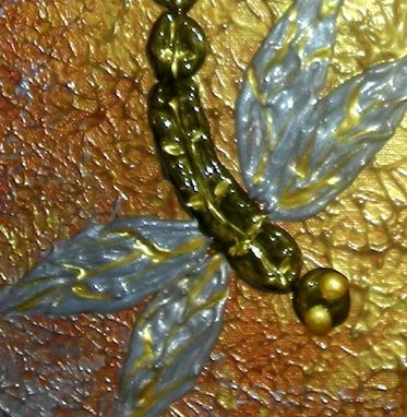 Custom Made 8x10 Print With Matte Of Original Modern Abstract Gold Dragonflies, By Dan Lafferty-Dragonfly Dawn
