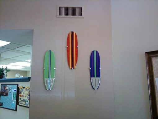 Custom Made Iridescent Blue Glass Surfboard