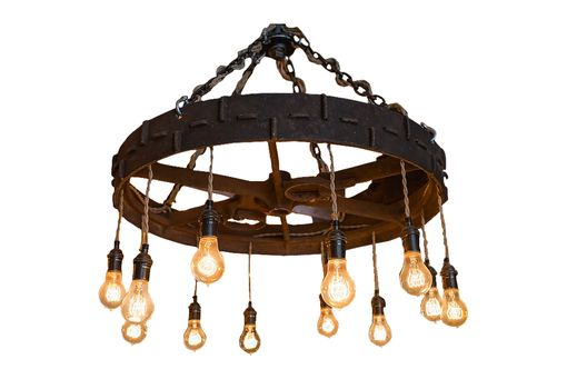 Custom Made Chandelier Made From An Antique Farm Implement Wheel