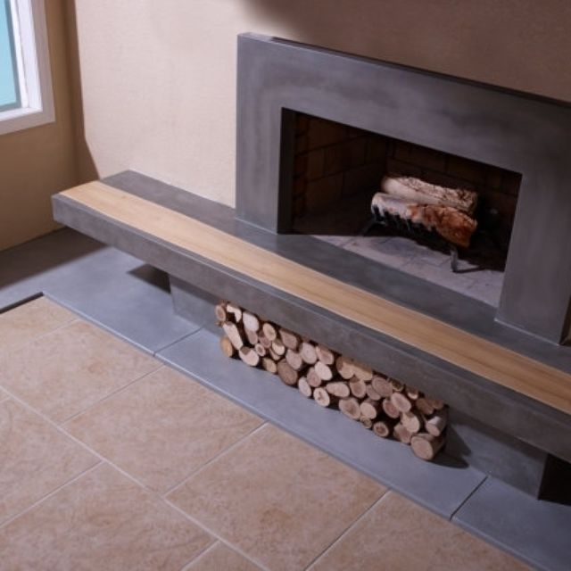 Hand Made Concrete Fireplace Surround Hearth With Wood Inlay By TAO