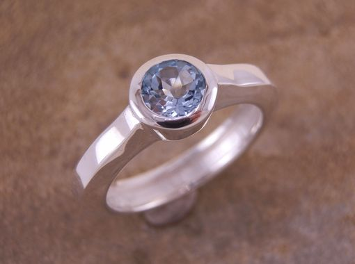 Custom Made Blue Topaz Statement Bezel Ring With Hollow Band In Argentium Sterling, 14 Kt Yellow Or White Gold