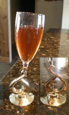 Custom Made Hollow-form Wine Stem in Bronze & Silver