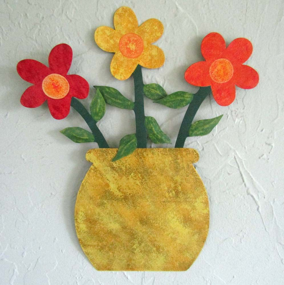 Custom Made Handmade Upcycled Metal Flowerpot With Yellow, Red ...