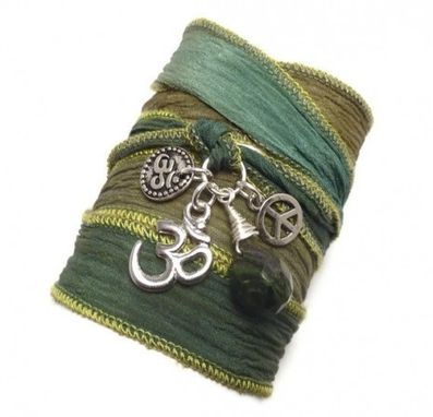 Custom Made Silk Wrap Bracelet With Om Charms, Peace Sign, And Jade