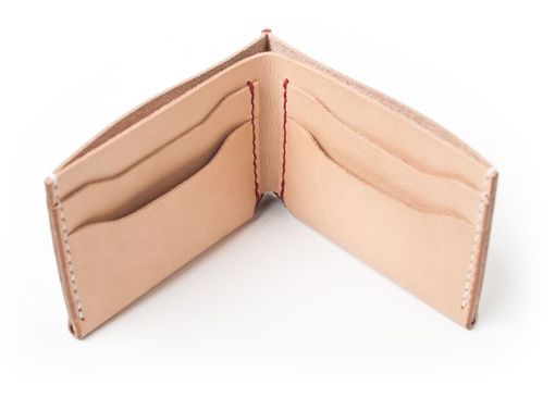 Custom Made Bifold Wallet In Natural Veg Tan Leather