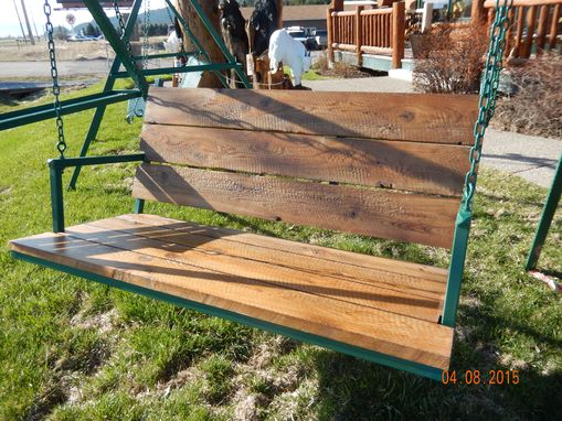 Custom Made Wrought Iron Porch Patio Garden Bench Swing With Circle Sawn Cedar Seat