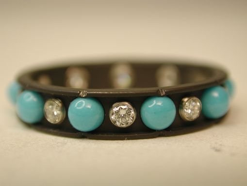 Custom Made Turquoise And Diamond Ring