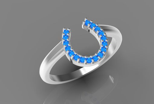 Custom Made Blue Diamond Horseshoe Ring In 14k White Gold