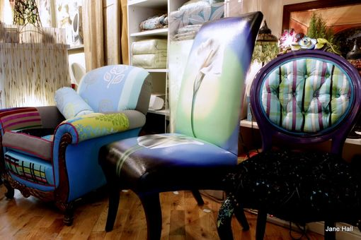 Hand Crafted Hand Painted Upholstered Chair Quilted 1920