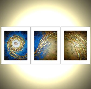 Custom Made Three Prints With Mattes Of Original Modern Abstract Gold Blue Metallic Painting - Midnight Breeze