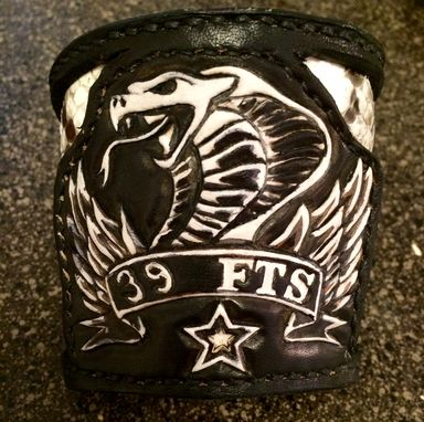 Custom Made Black Biker Style Leather Wrist Cuff With Real Python Inlay