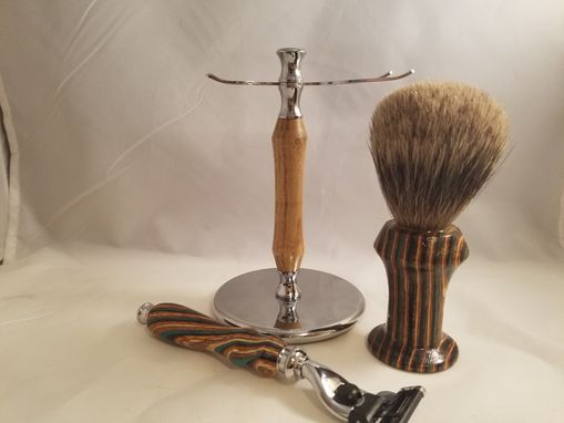 Custom Made Multicolor Wooden Shaving Set