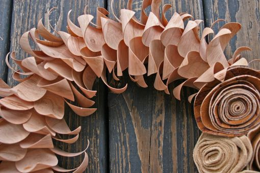 Custom Made Wood Veneer And Leather Wreath