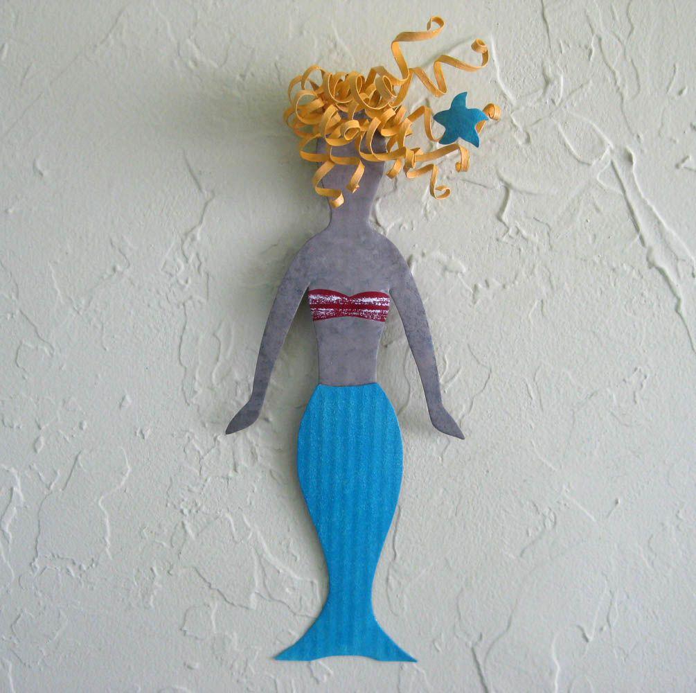 Hand Crafted Mermaid Wall Art Decor Bebe Recycled Metal Wall