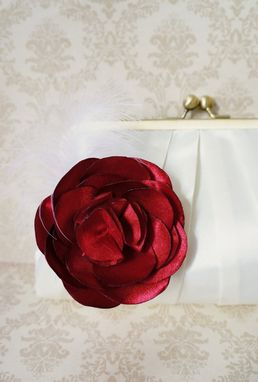 Custom Made Pleated Clutch Purse With Satin Flower Brooch And Feathers
