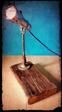 Custom Made Upcycled Reclaimed Wood Vintage Eveready Flashlight Reading Desk Lamp
