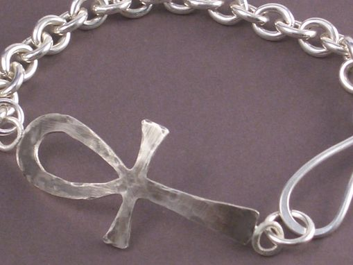 Custom Made Ankh Bracelet In Hand Forged Sterling