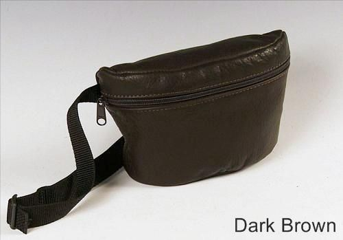 Custom Made Small Hip Bag, Dark Brown Leather