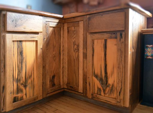 Custom Made Live Edge Oak With Rustic Front Facing Kitchen Cabinets