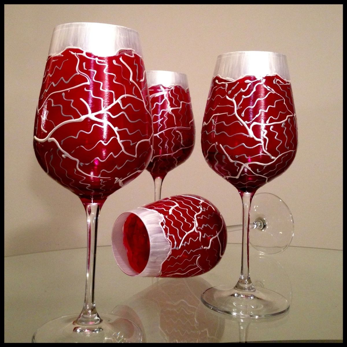 Hand Made Hand Painted Wine Glasses Custom Valentine S Day Tudor