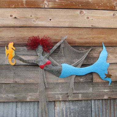 Custom Made Handmade Upcycled Metal Mermaid With Seahorse Wall Art Sculpture