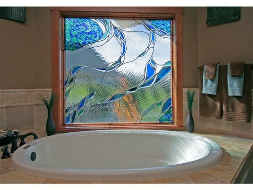 Custom Made Stained Glass In A Bathroom Window