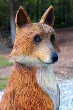 Custom Made Red Fox Vixen Wood Chainsaw Sculpture