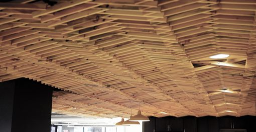 hand made white pine slat ceiling by rudabega custommade