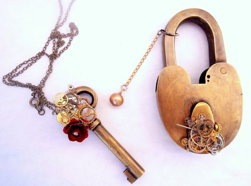 Custom Made Steampunk Lock And Key Set