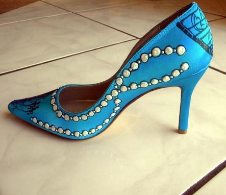 Custom Made Pearls And Cinema, Movie Themed Hollywood Glamour 1950 Turquoise Wedding Shoes