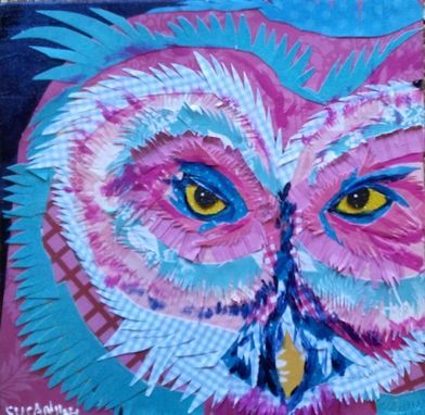 Custom Made Pink And Blue Fluffy Owl