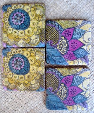 Custom Made Coasters Paisley Design Purple Blue Ochre Handmade With Original Artwork-Set Of 4