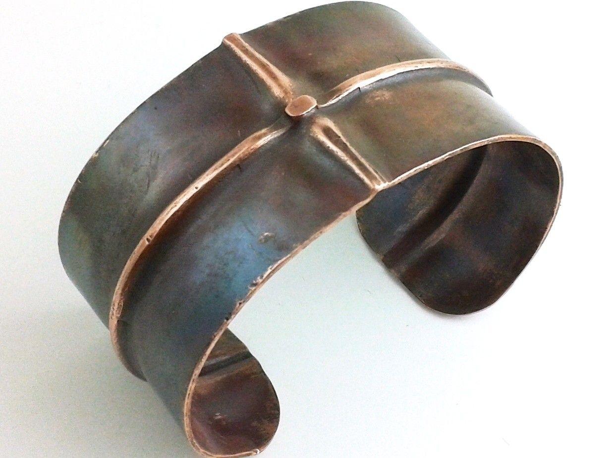 Custom Made Fold Formed Men's Copper Bracelet Cuff  Ridge Ii