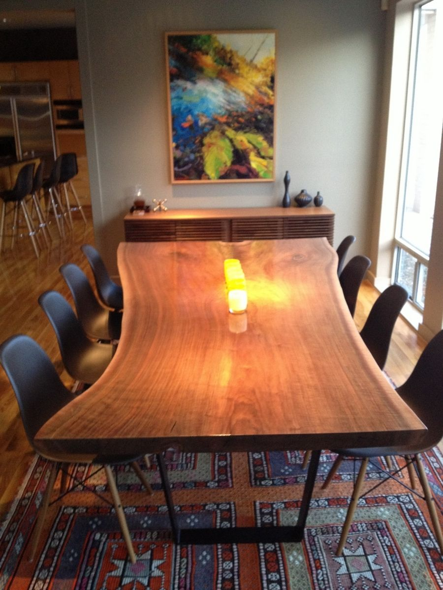 Walnut live edge dining table - Custom Made Live Edge Walnut Dining Table