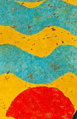 Custom Made Abstract Art, Macro Photography (Crackled Paint, Blue, Red, Yellow)