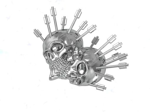 Custom Made Skull Heart Lapel Pin